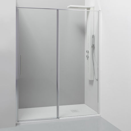 Pivot door with fixed panel