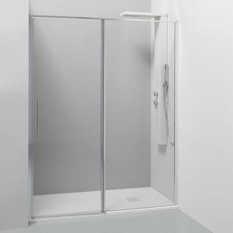 Sliding door with fixed panel