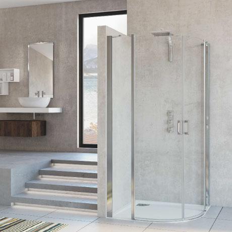 Quadrant with pivot doors