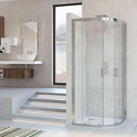 Quadrant with sliding doors