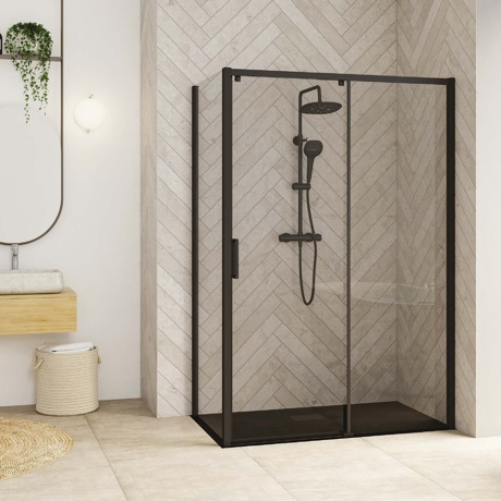Sliding door with fixed panel and fixed side panel