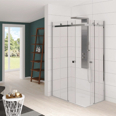 Corner entry with 2 sliding doors and fixed panels