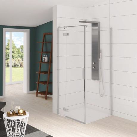 Pivot door and fixed side panel